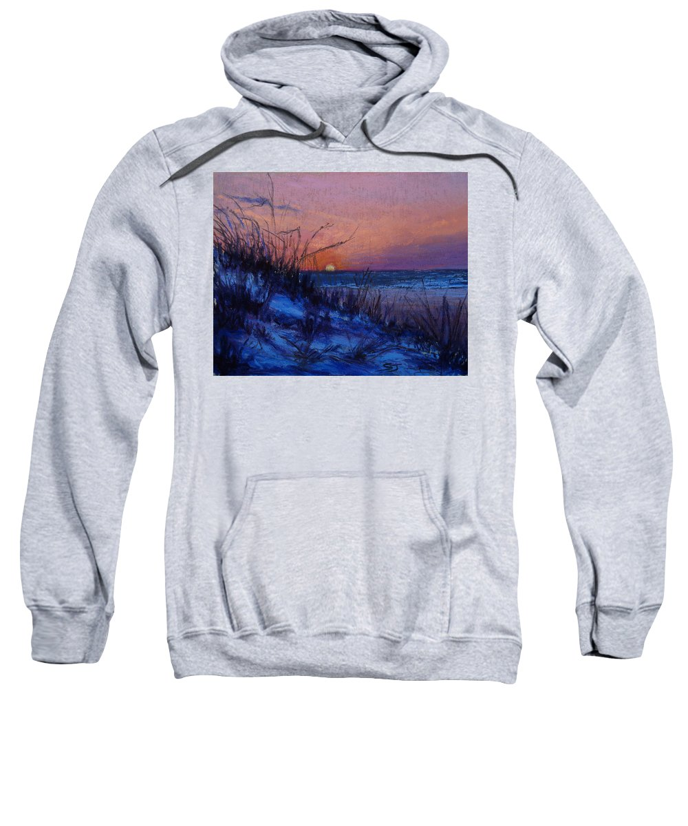 Landscape Sweatshirt featuring the pastel Frenchy's Sunset by Susan Jenkins