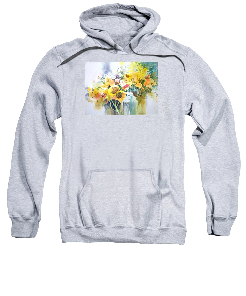 Contemporary;watercolor;sunflowers;daisies;floral; Sweatshirt featuring the painting Fresh-picked by Lois Mountz