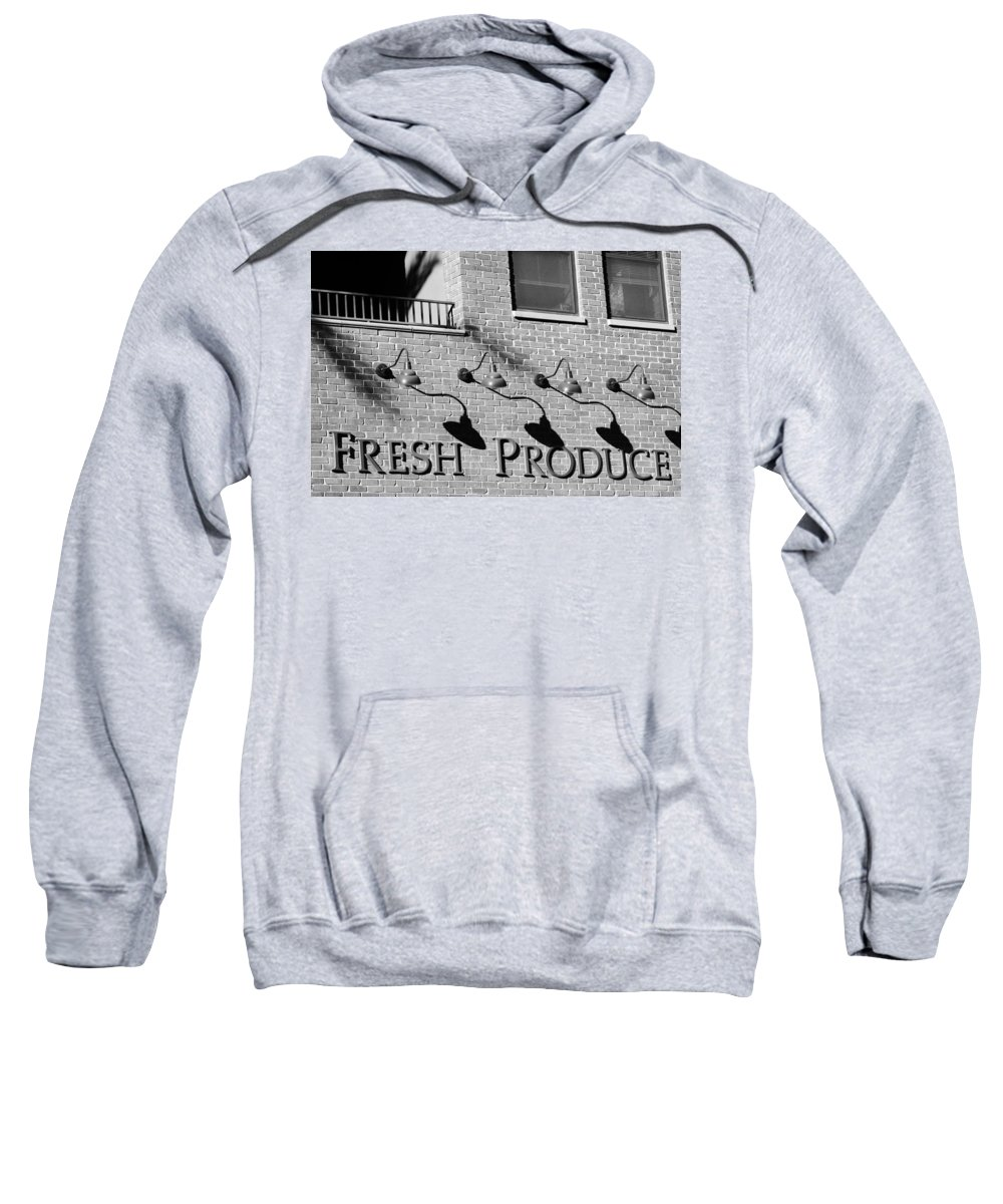 Black And White Sweatshirt featuring the photograph Fresh Produce Signage Black And White by Jill Reger