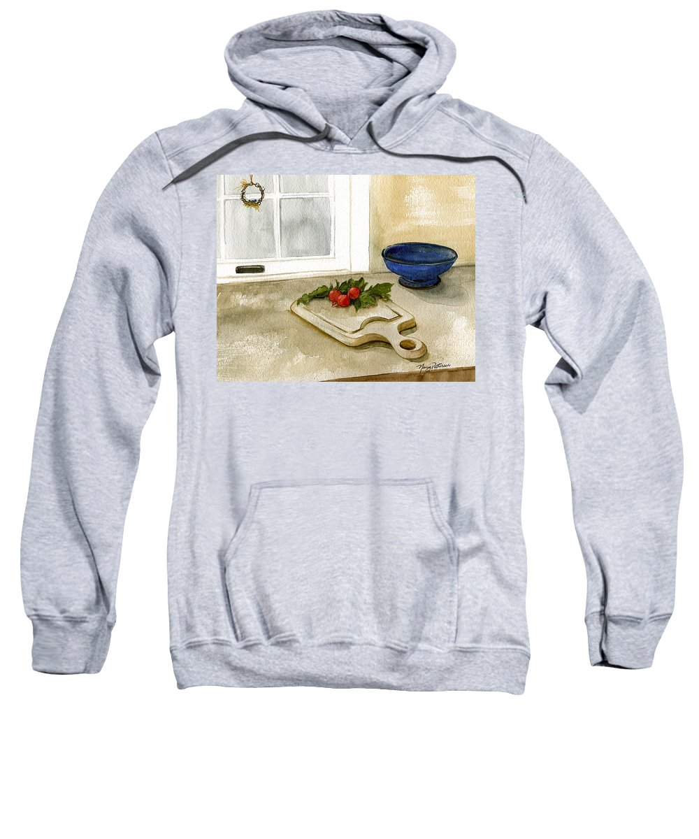 Radish Sweatshirt featuring the painting Fresh Radishes by Nancy Patterson