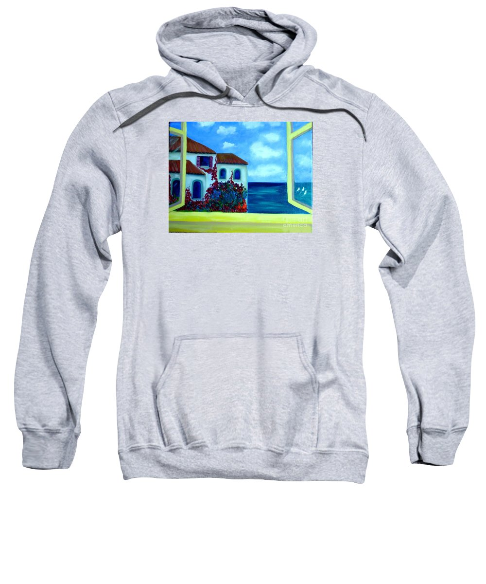 Seascape Sweatshirt featuring the painting Fresh Sea Air by Laurie Morgan