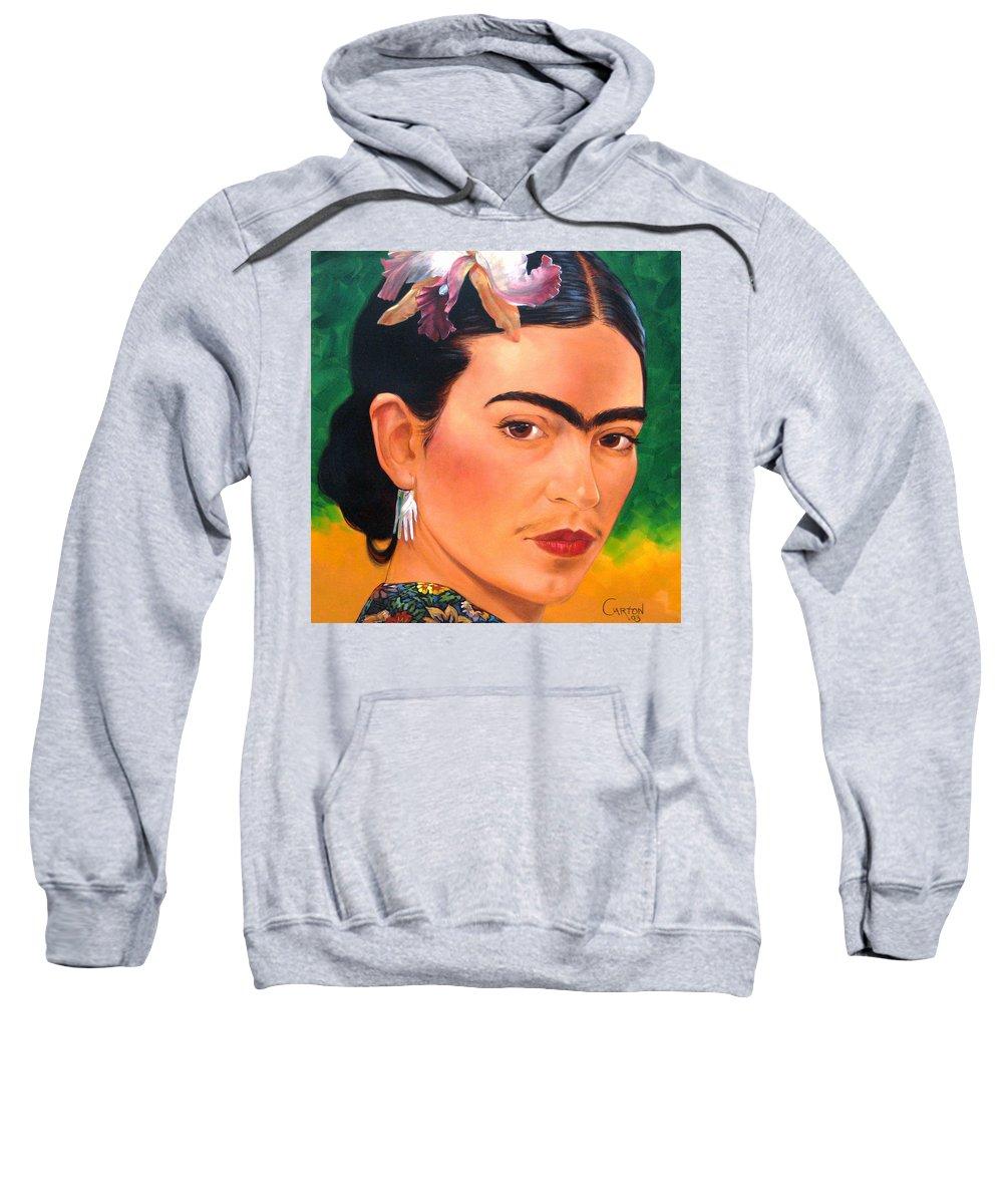 Frida Kahlo Sweatshirt featuring the painting Frida Kahlo 2003 by Jerrold Carton