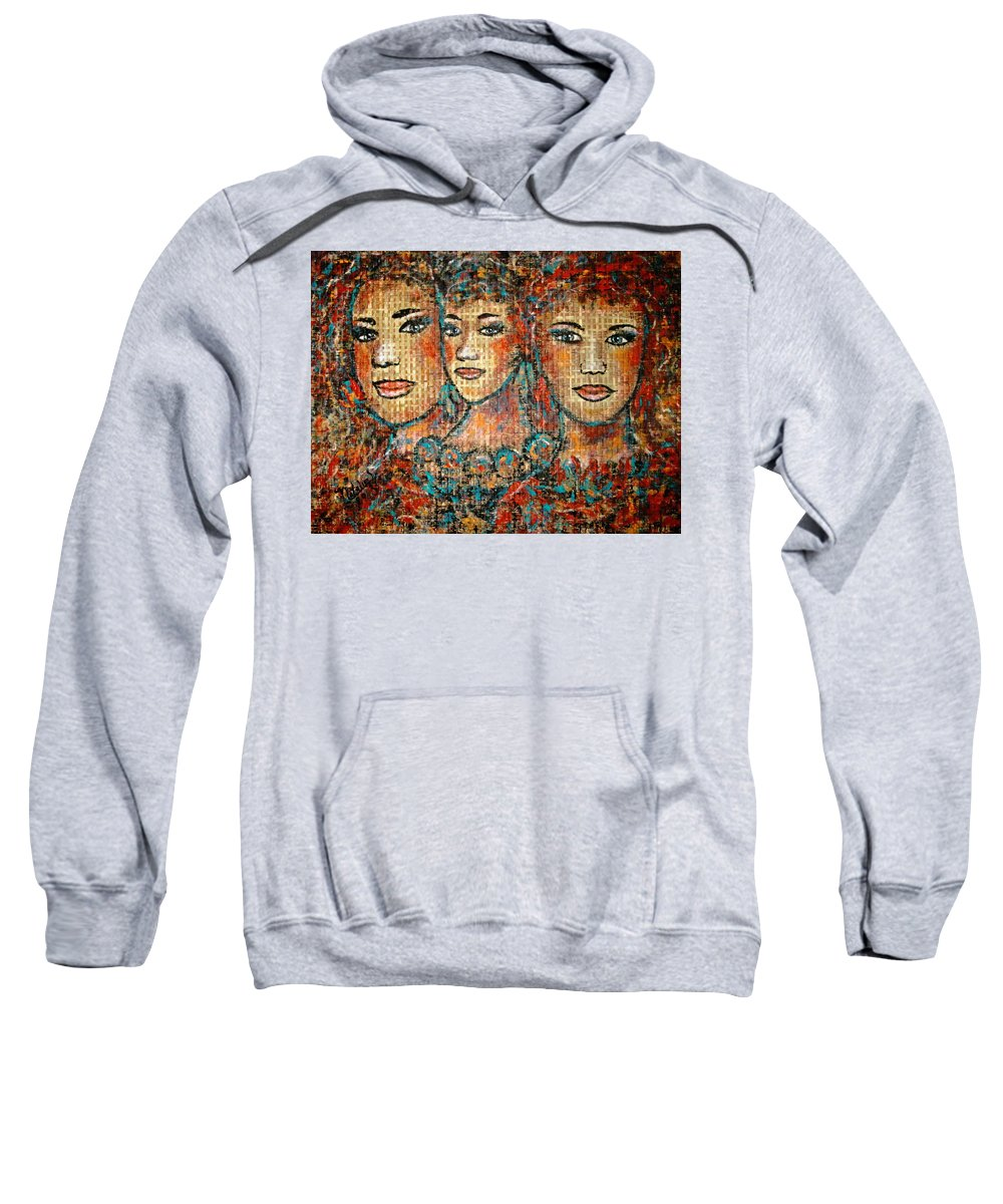 Friends Sweatshirt featuring the painting Friends Forever by Natalie Holland