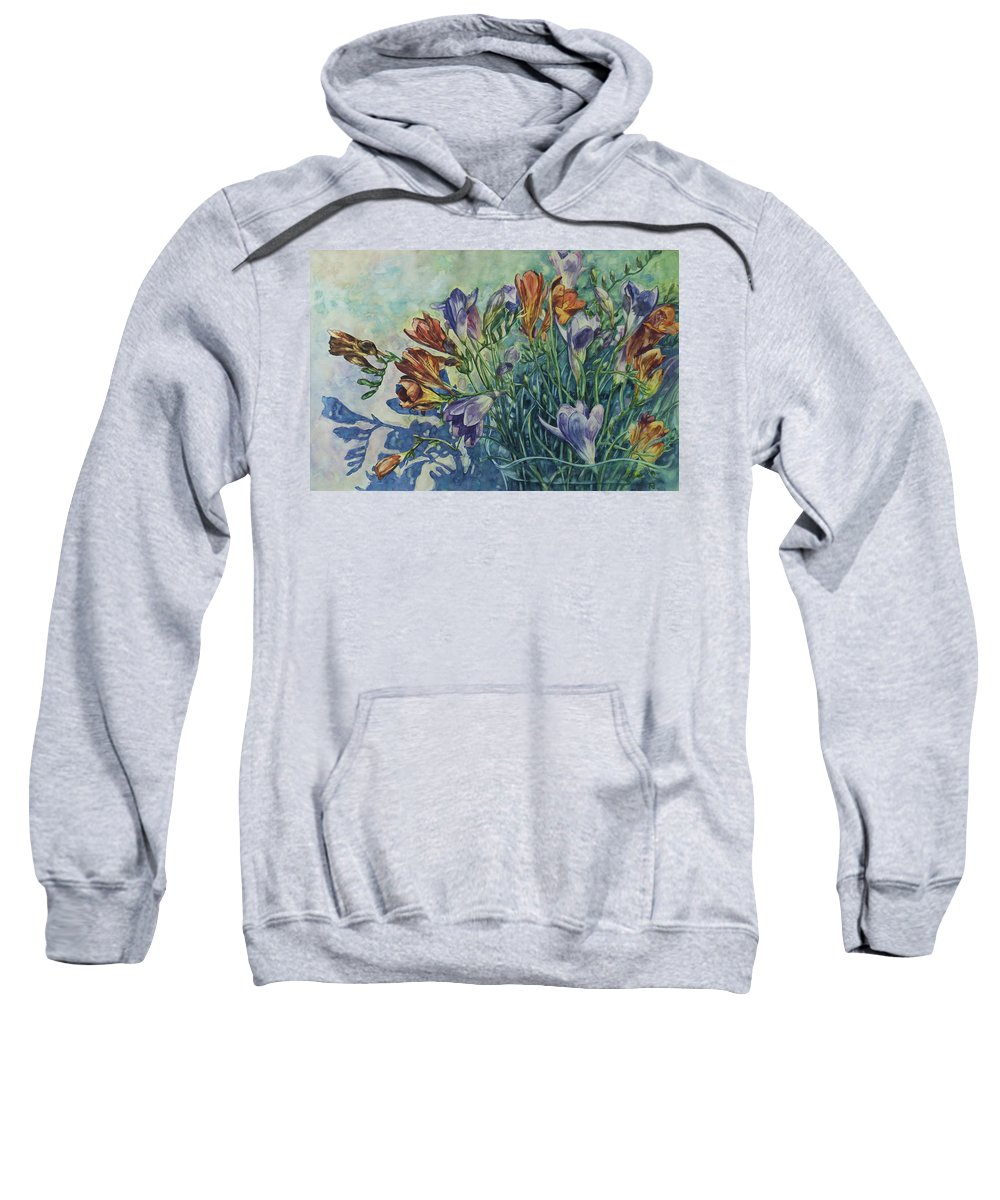 Flowers Sweatshirt featuring the painting Frishias by Rick Nederlof