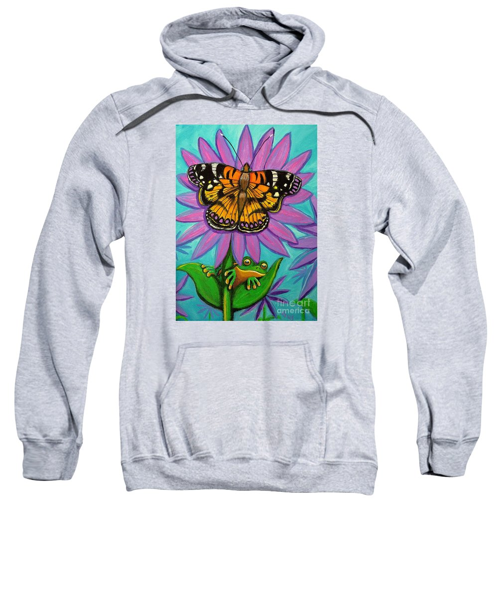 Frog And Butterfly Painting Sweatshirt featuring the painting Frog And Butterfly by Nick Gustafson