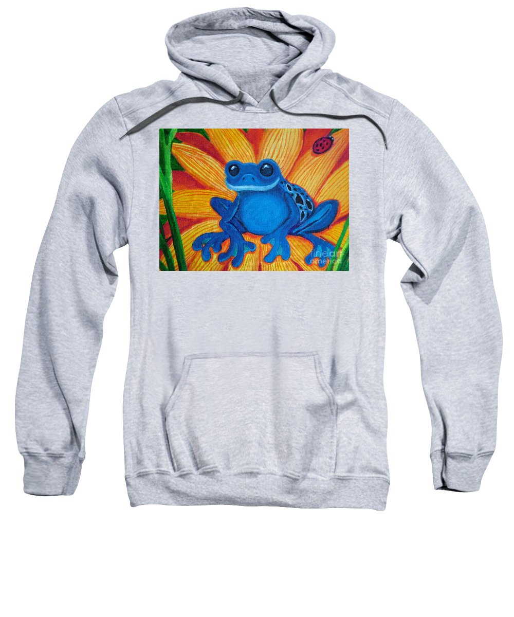 Frog And Flower Painting Sweatshirt featuring the painting Frog And Lady Bug by Nick Gustafson