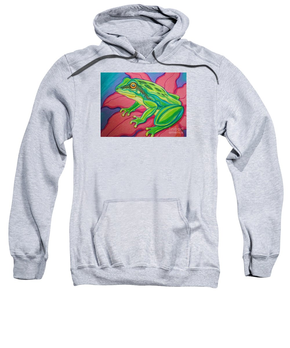 Frog Sweatshirt featuring the drawing Frog On Flower by Nick Gustafson