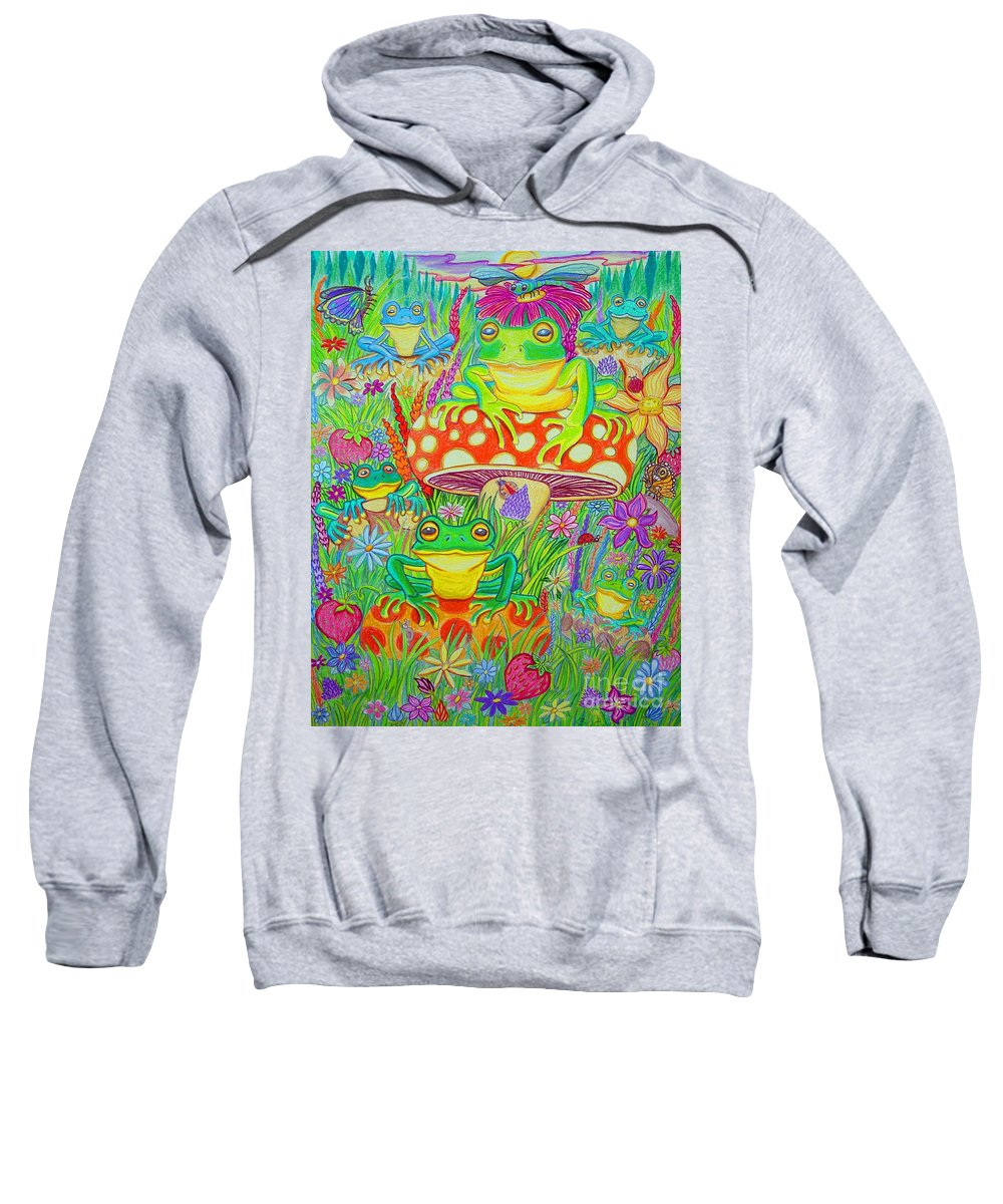 Frog Art Sweatshirt featuring the drawing Frogs And Mushrooms by Nick Gustafson