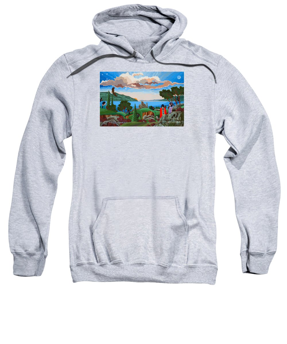 American Indian Painting Sweatshirt featuring the painting From A High Place, Troubles Remain Small by Chholing Taha