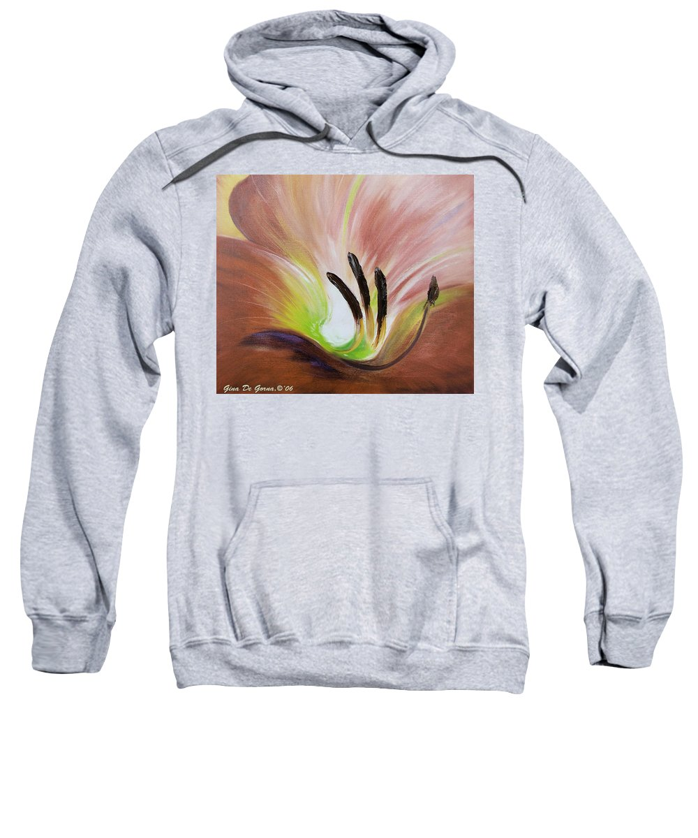 Brown Sweatshirt featuring the painting From The Heart Of A Flower Brown 3 by Gina De Gorna