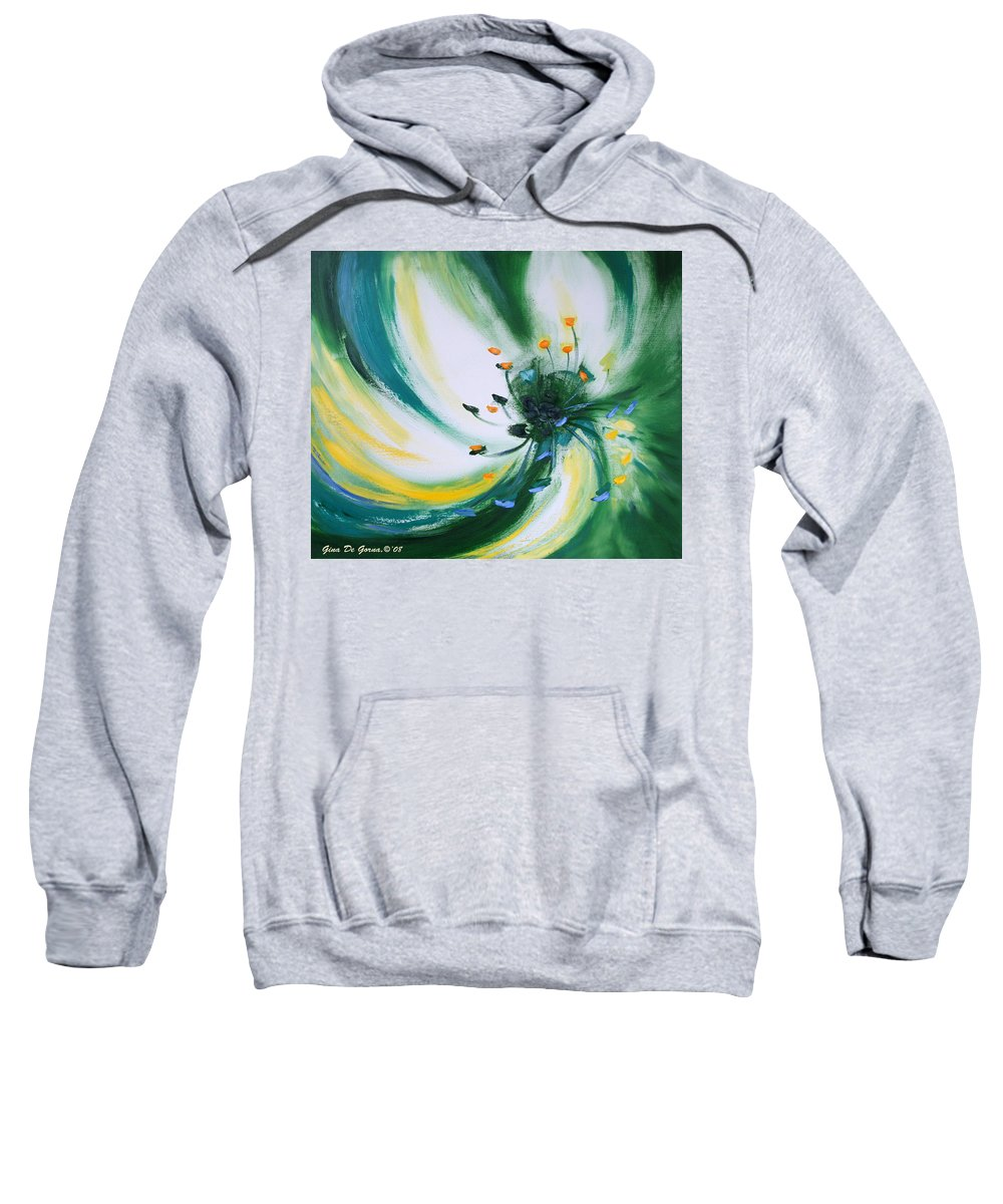Green Sweatshirt featuring the painting From The Heart Of A Flower Green by Gina De Gorna