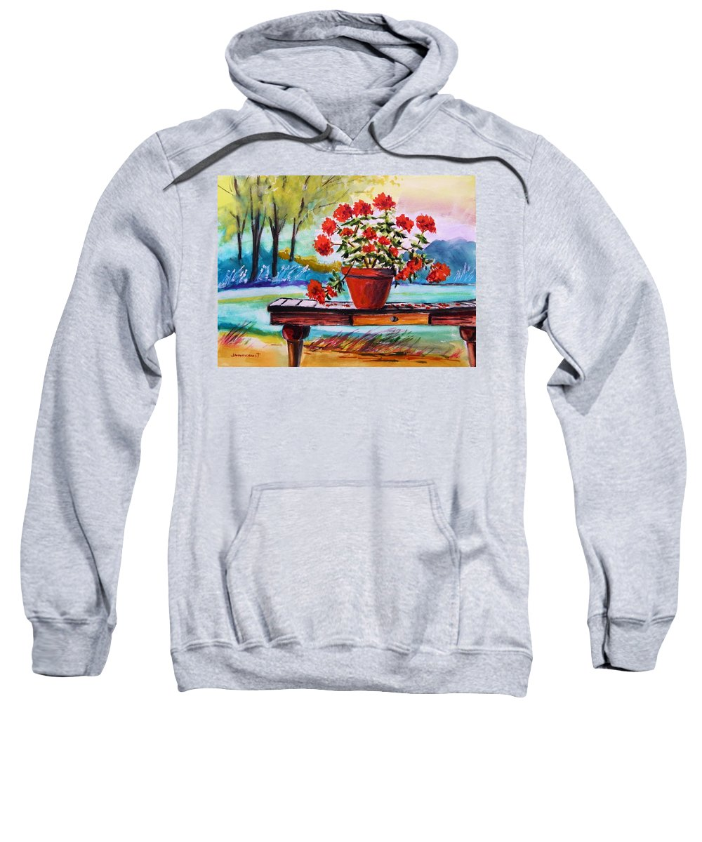 Geranium Sweatshirt featuring the painting From The Potting Shed by John Williams