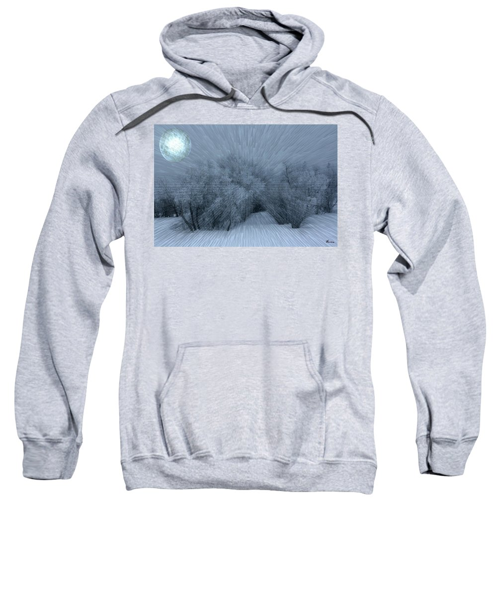 Moon Hoar Frost Trees Sky Winter Snow Cold Fog Lunar Sweatshirt featuring the photograph Frosted Moon by Andrea Lawrence