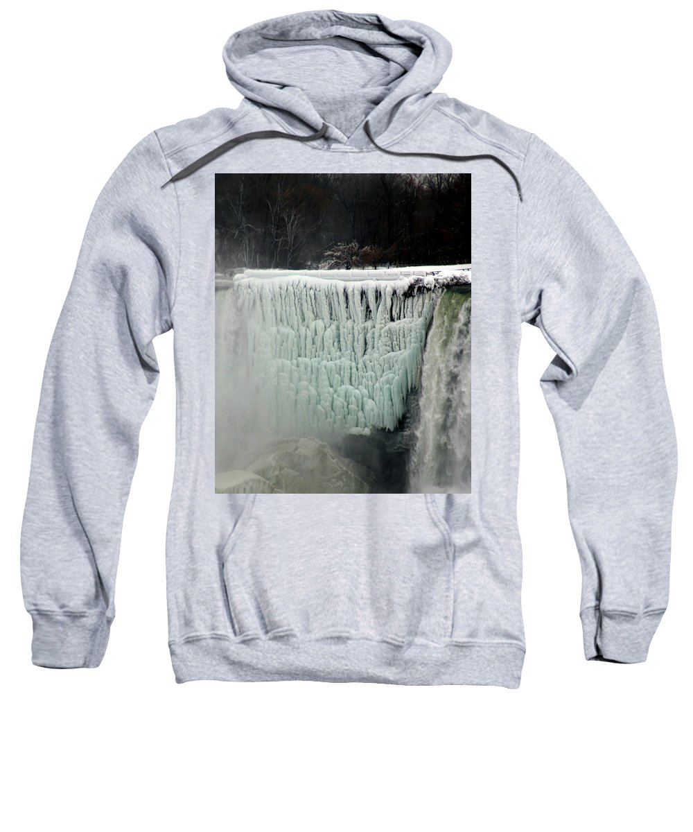 Landscape Sweatshirt featuring the photograph Frozen Falls by Anthony Jones