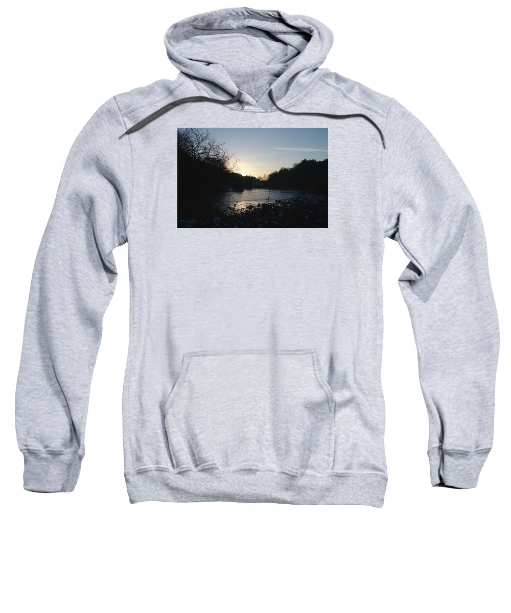 Frozen Sweatshirt featuring the photograph Frozen Pool At Sunset by Adrian Wale