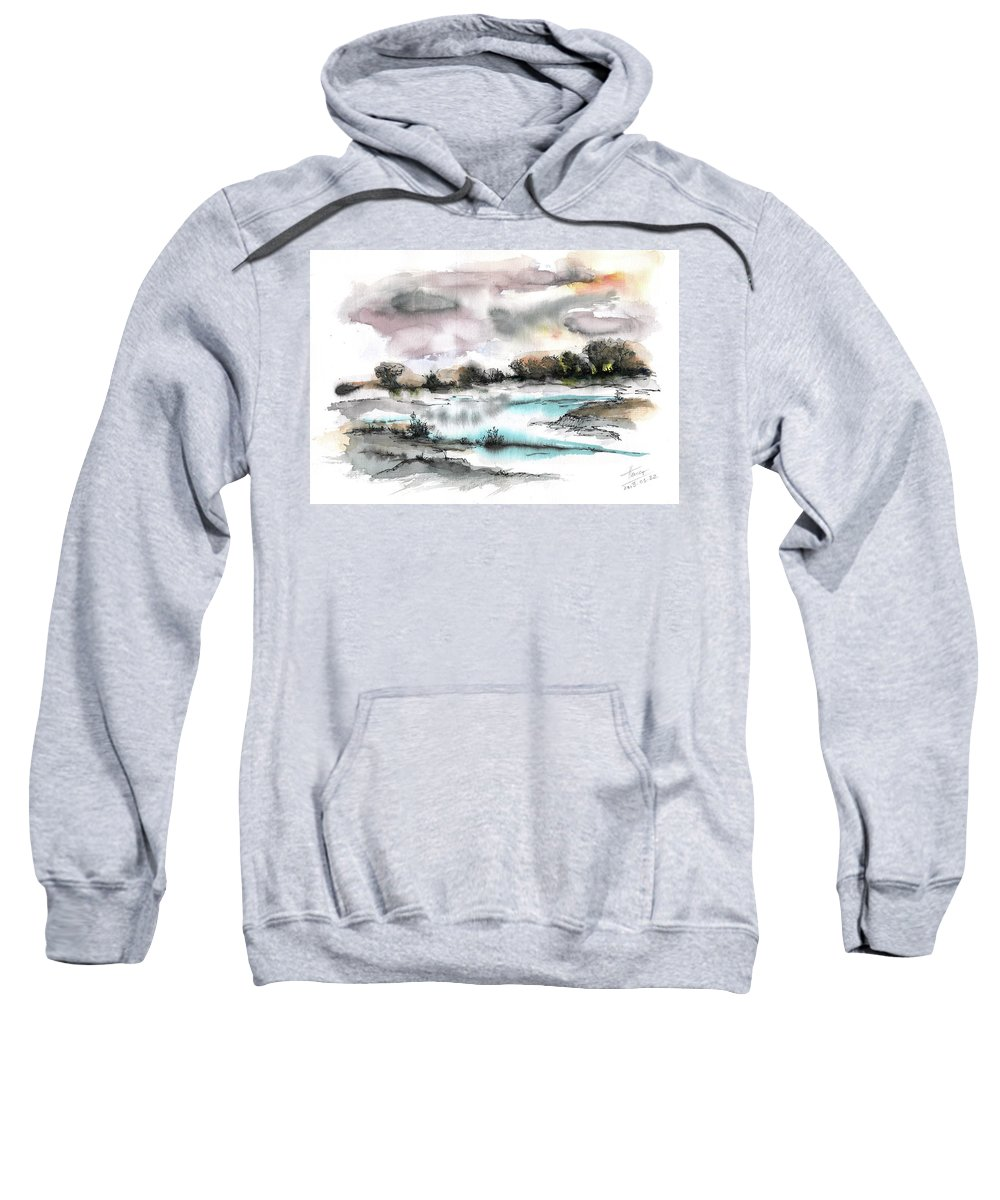 Abstract Landscape Sweatshirt featuring the painting Frozen River by Aniko Hencz
