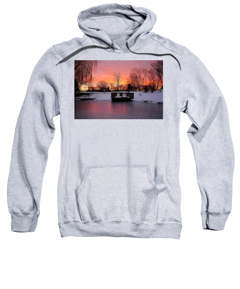 Sunrise Sweatshirt featuring the photograph Frozen Sunrise by Frozen in Time Fine Art Photography