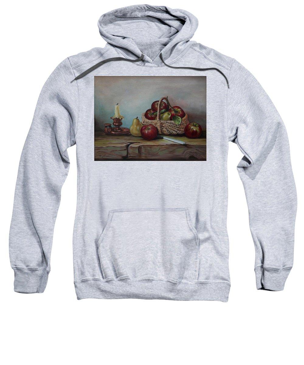 Fruit Basket Sweatshirt featuring the painting Fruit Basket - Lmj by Ruth Kamenev