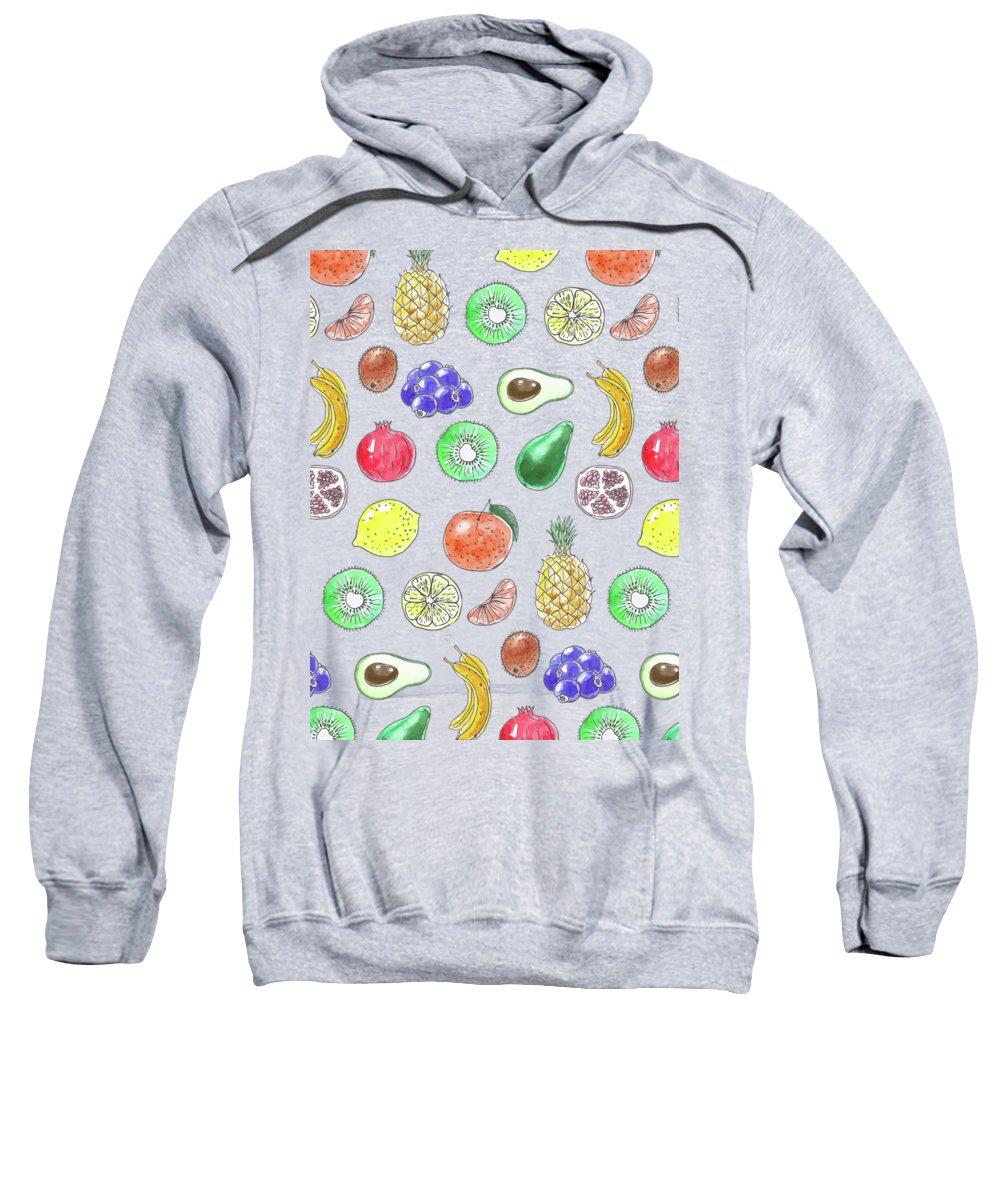 Avocado Sweatshirt featuring the mixed media Fruit Pattern by Katerina Kirilova