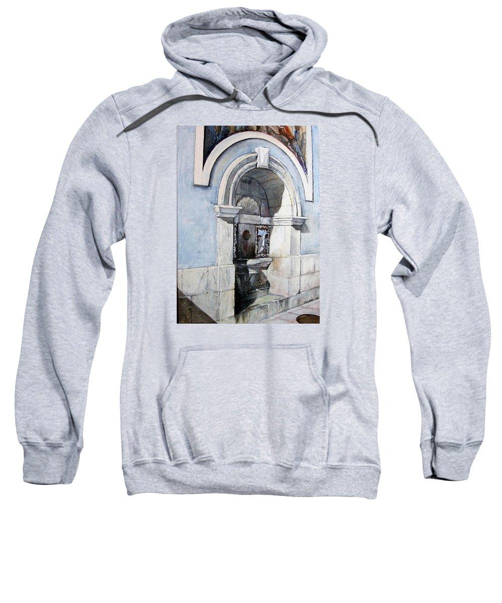 Fuente Sweatshirt featuring the painting Fuente Castro Urdiales by Tomas Castano