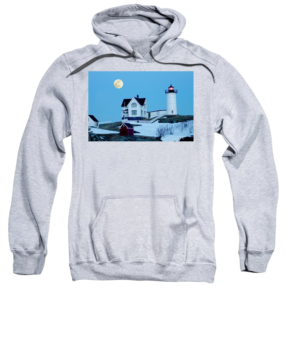 Coast Sweatshirt featuring the photograph Full Moon Nubble by Greg Fortier