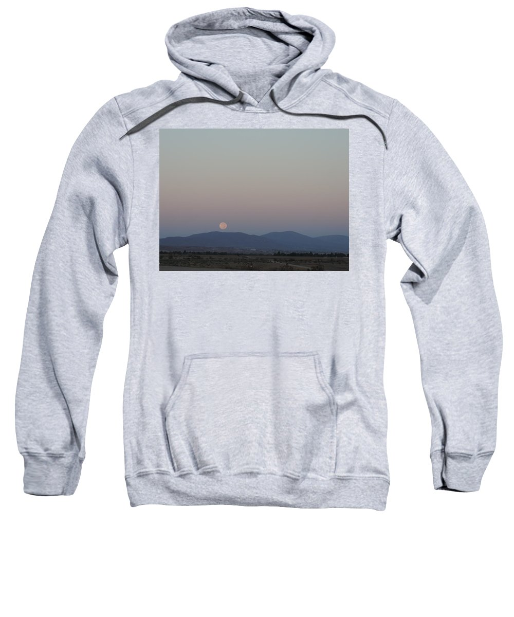 Full Moon Sweatshirt featuring the photograph Full Moonset Over Mountains by Enaid Silverwolf