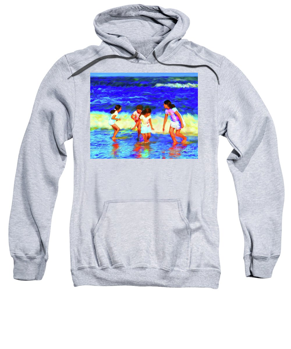 Beach Sweatshirt featuring the digital art Fun At The Beach by Diane Macdonald