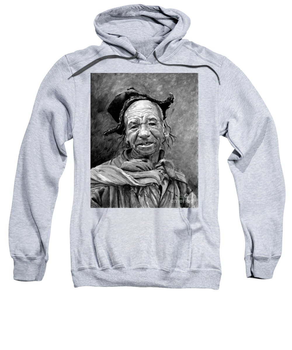 Man Sweatshirt featuring the painting Funky Hat by Portraits By NC