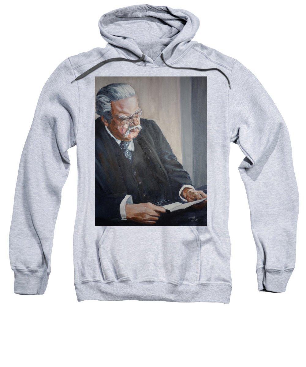 Chesterton Author Catholic Sweatshirt featuring the painting G K Chesterton by Bryan Bustard
