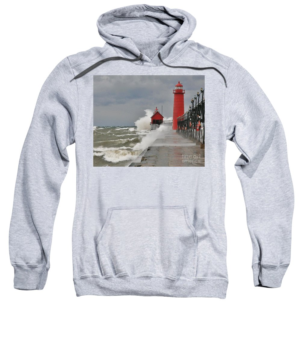 Light House Sweatshirt featuring the photograph Gale Warnings by Robert Pearson