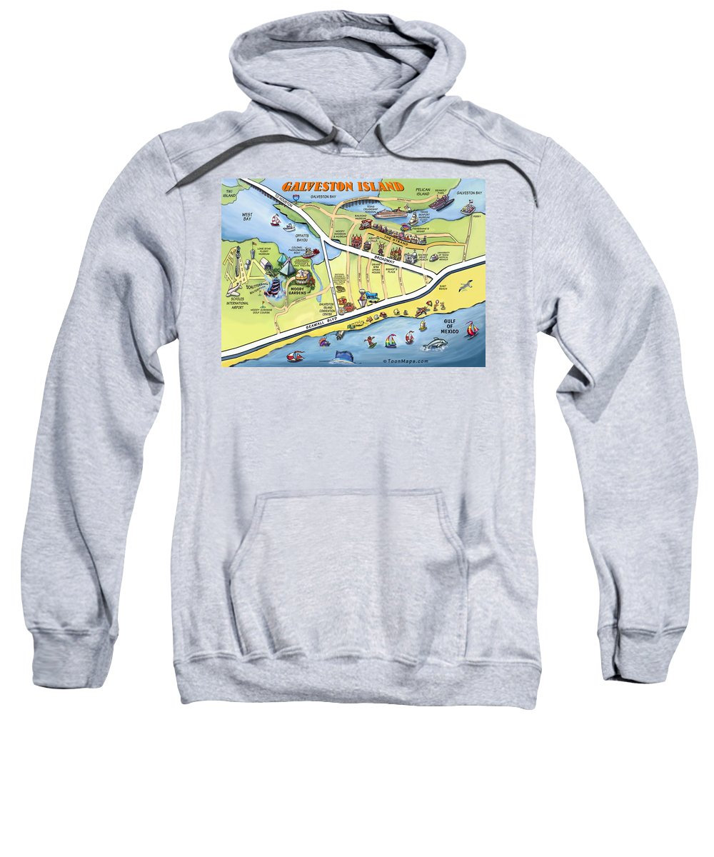Galveston Sweatshirt featuring the digital art Galveston Texas Cartoon Map by Kevin Middleton