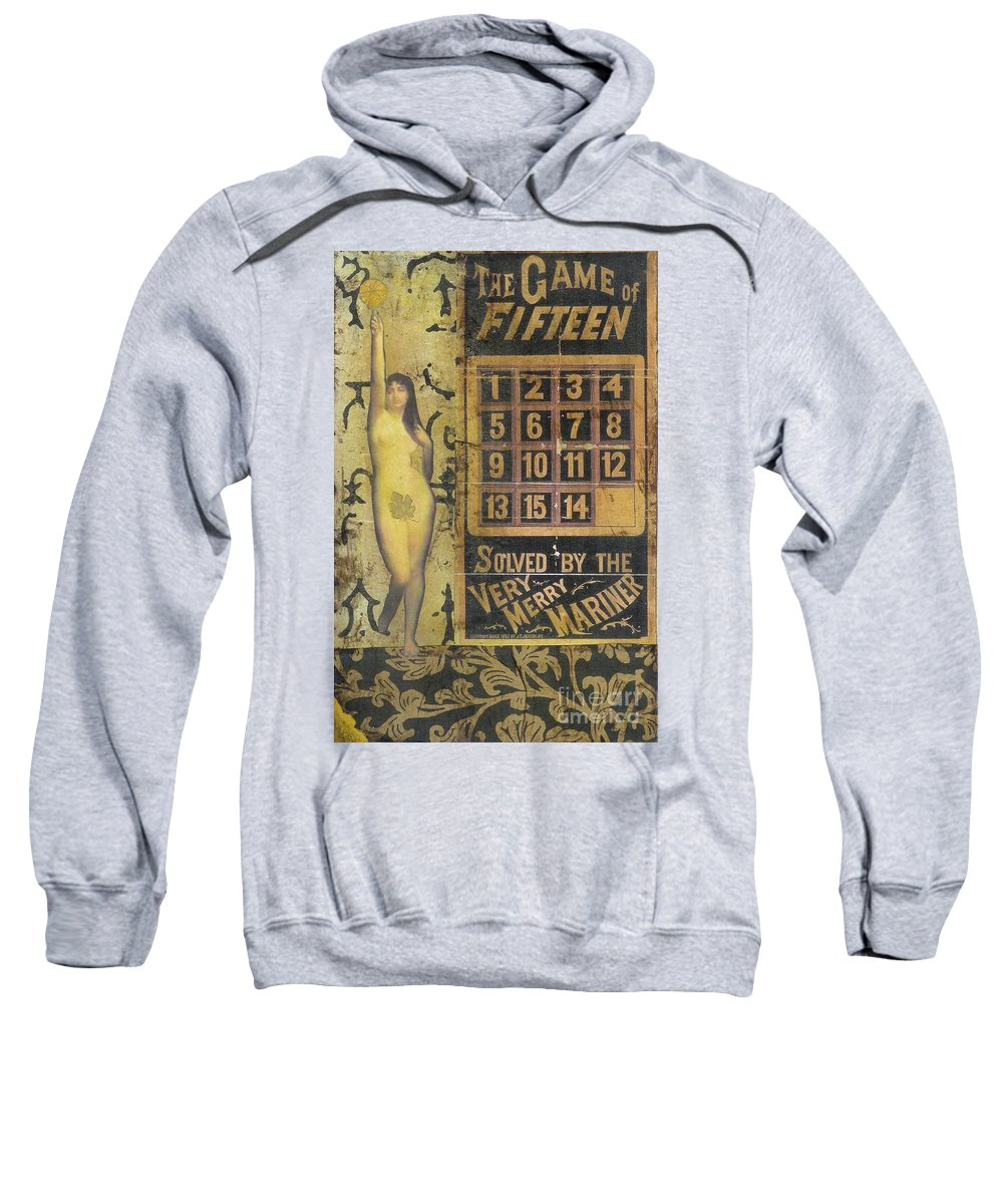Vintage Sweatshirt featuring the mixed media Game Of Fifteen by Desiree Paquette