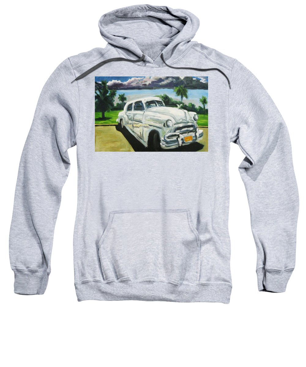 Old Cars Sweatshirt featuring the painting Gangsters On Vacation by John Malone