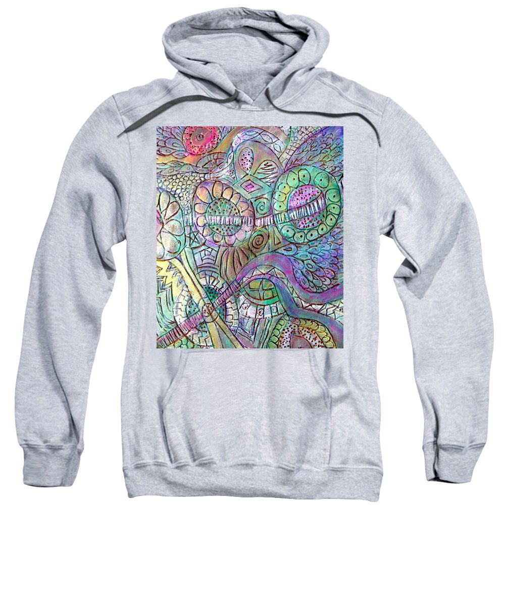 Abstract Sweatshirt featuring the painting Garden In The Sky by Wayne Potrafka