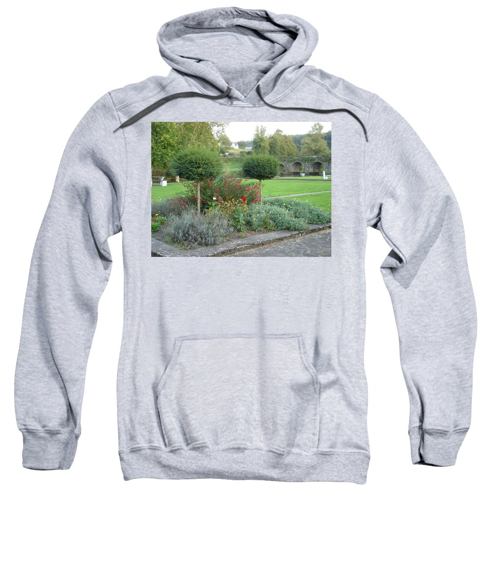 Inistioge Sweatshirt featuring the photograph Garden On The Banks Of The Nore by Kelly Mezzapelle
