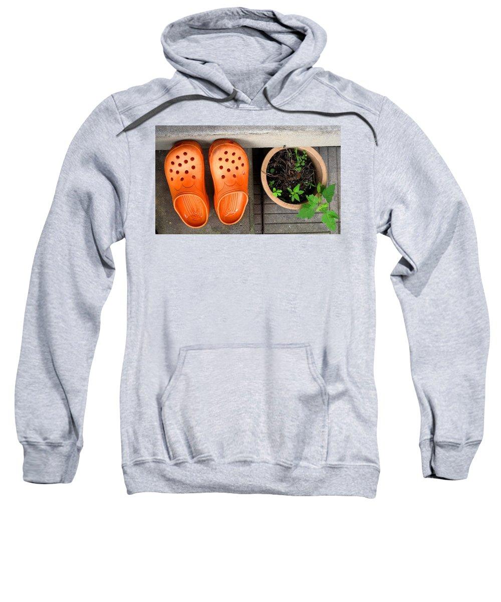 Clogs Sweatshirt featuring the photograph Garden Shoes by Ian MacDonald