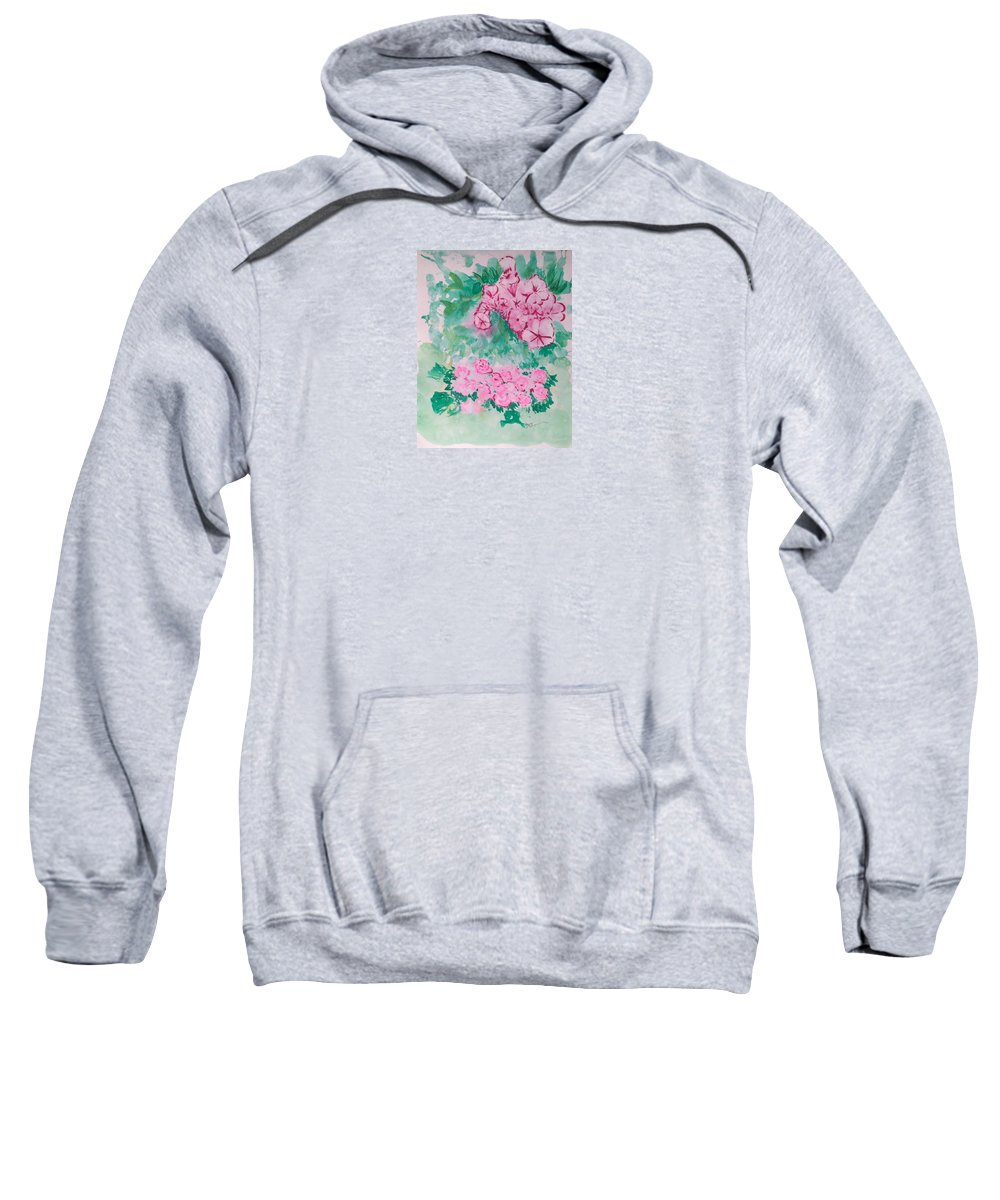 Impressionism Sweatshirt featuring the painting Garden With Pink Flowers by J R Seymour