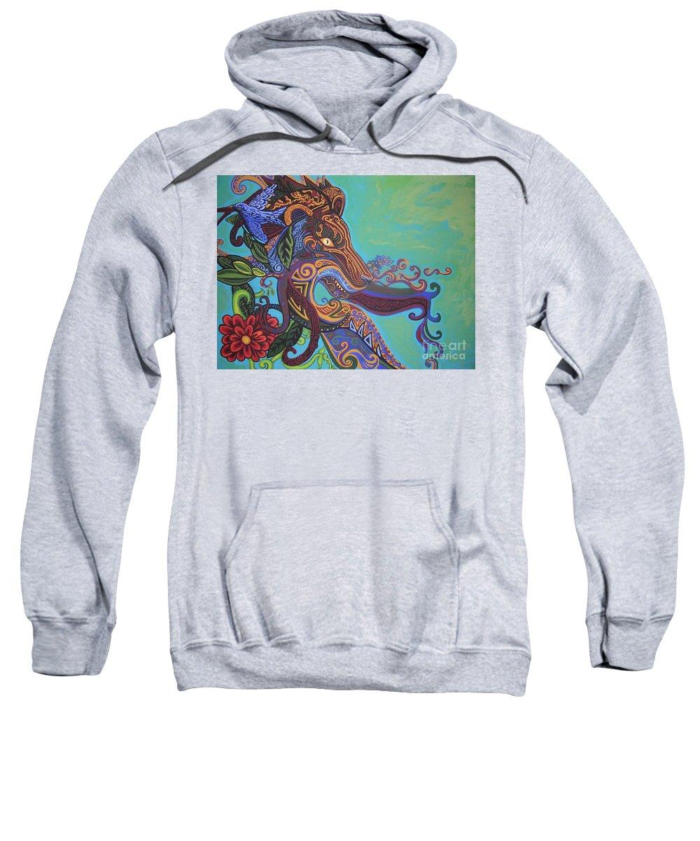 Gargoyle Lion Sweatshirt featuring the painting Gargoyle Lion by Genevieve Esson