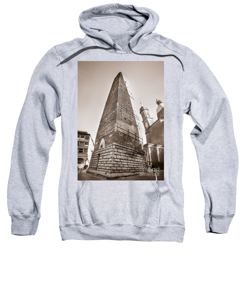Agency Sweatshirt featuring the photograph Garisenda Tower In Bologna by Luca Lorenzelli