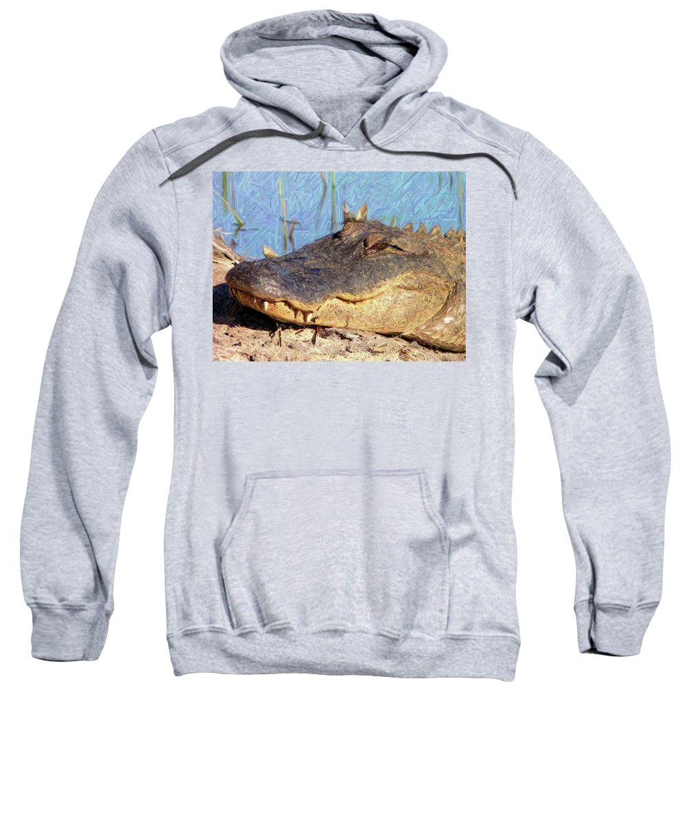 Gator Sweatshirt featuring the photograph Gator Grin - Digital Art by Al Powell Photography USA