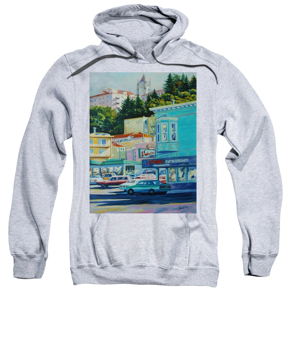 Cityscape Sweatshirt featuring the painting Geary Street by Rick Nederlof