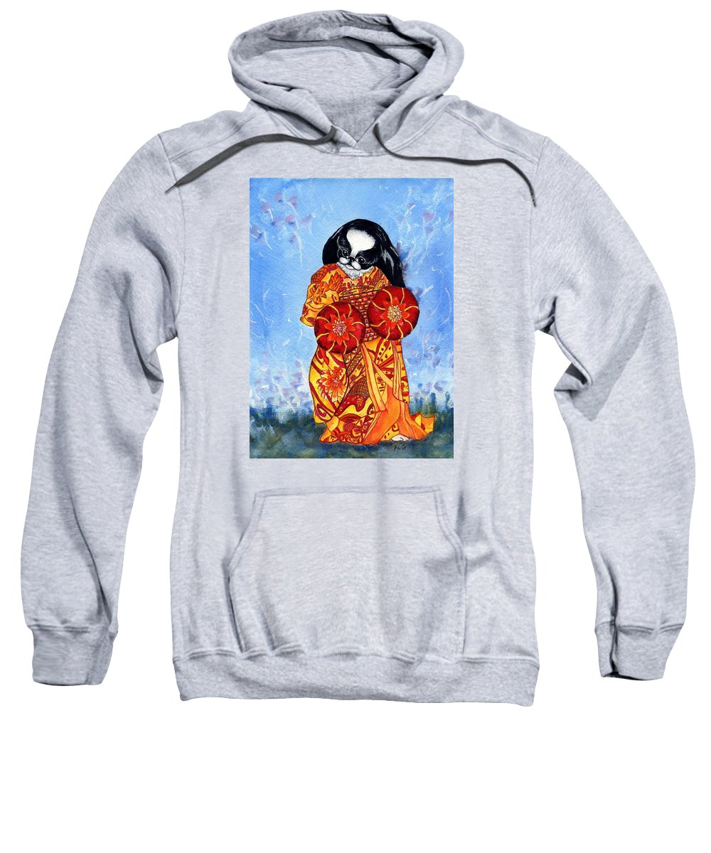 Japanese Chin Sweatshirt featuring the painting Geisha Chin by Kathleen Sepulveda