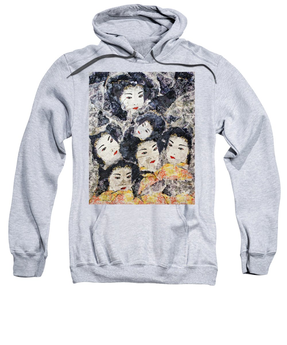 Geisha Sweatshirt featuring the mixed media Geisha by Shelley Jones