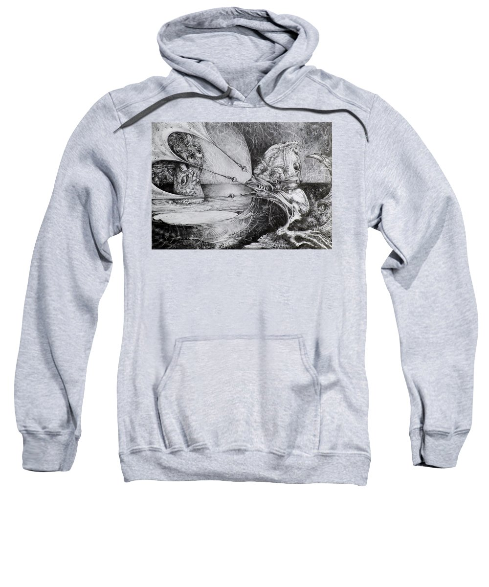 Surrealism Sweatshirt featuring the drawing General Peckerwood In Purgatory by Otto Rapp