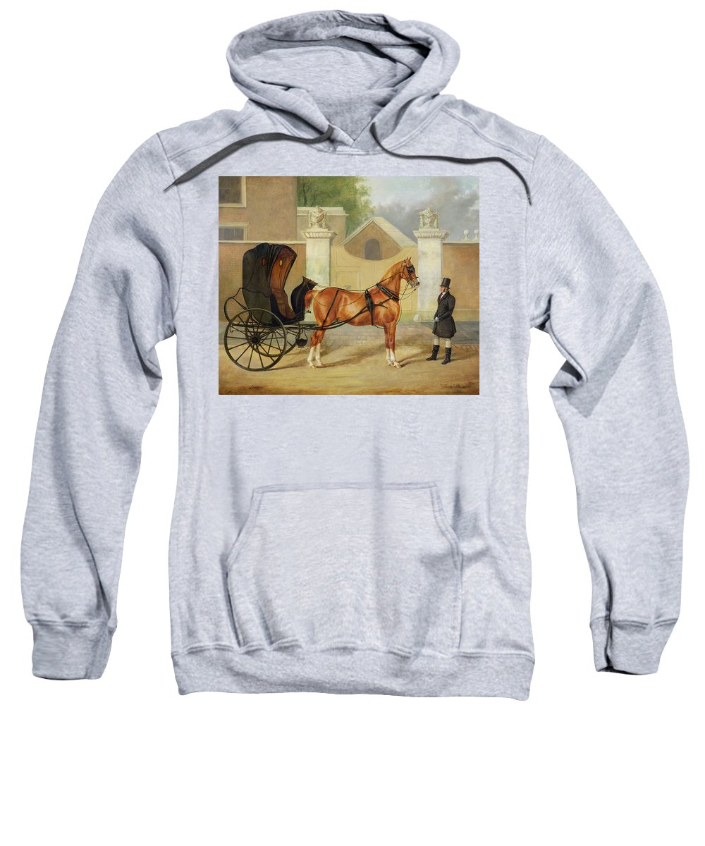 Gentlemen Sweatshirt featuring the painting Gentlemen's Carriages - A Cabriolet by Charles Hancock