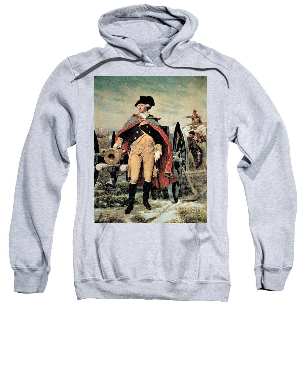 George Washington At Dorchester Heights Sweatshirt featuring the painting George Washington At Dorchester Heights by Emanuel Gottlieb Leutze