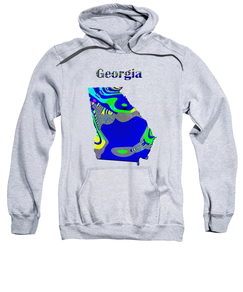 Georgia Sweatshirt featuring the painting Georgia Map by Roger Wedegis