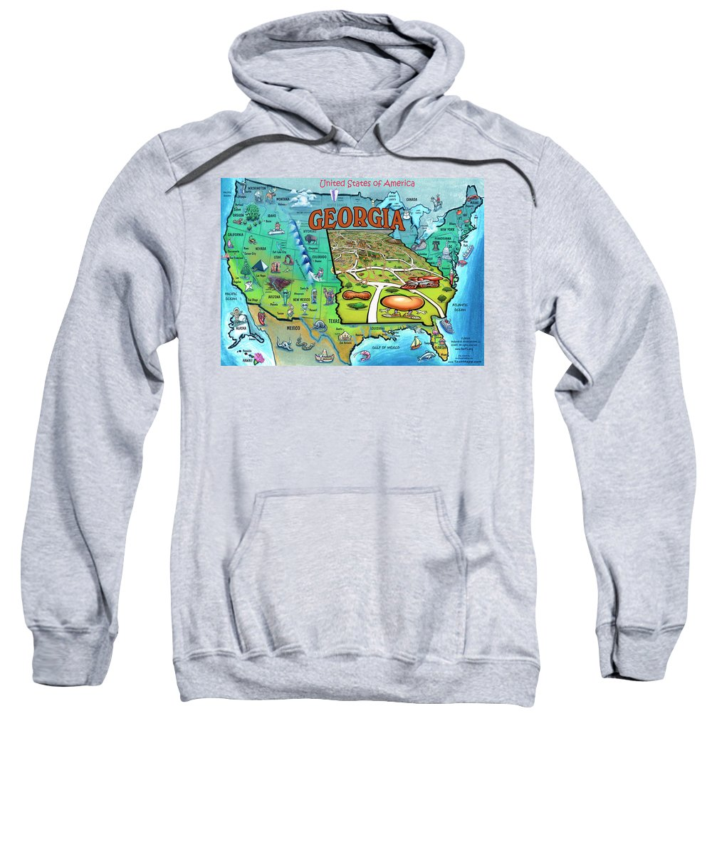 Georgia Sweatshirt featuring the painting Georgia Usa Cartoon Map by Kevin Middleton