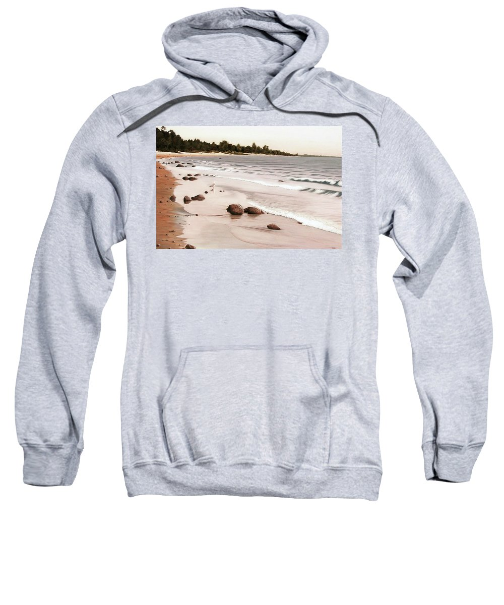Landscapes Sweatshirt featuring the painting Georgian Bay Beach by Kenneth M Kirsch
