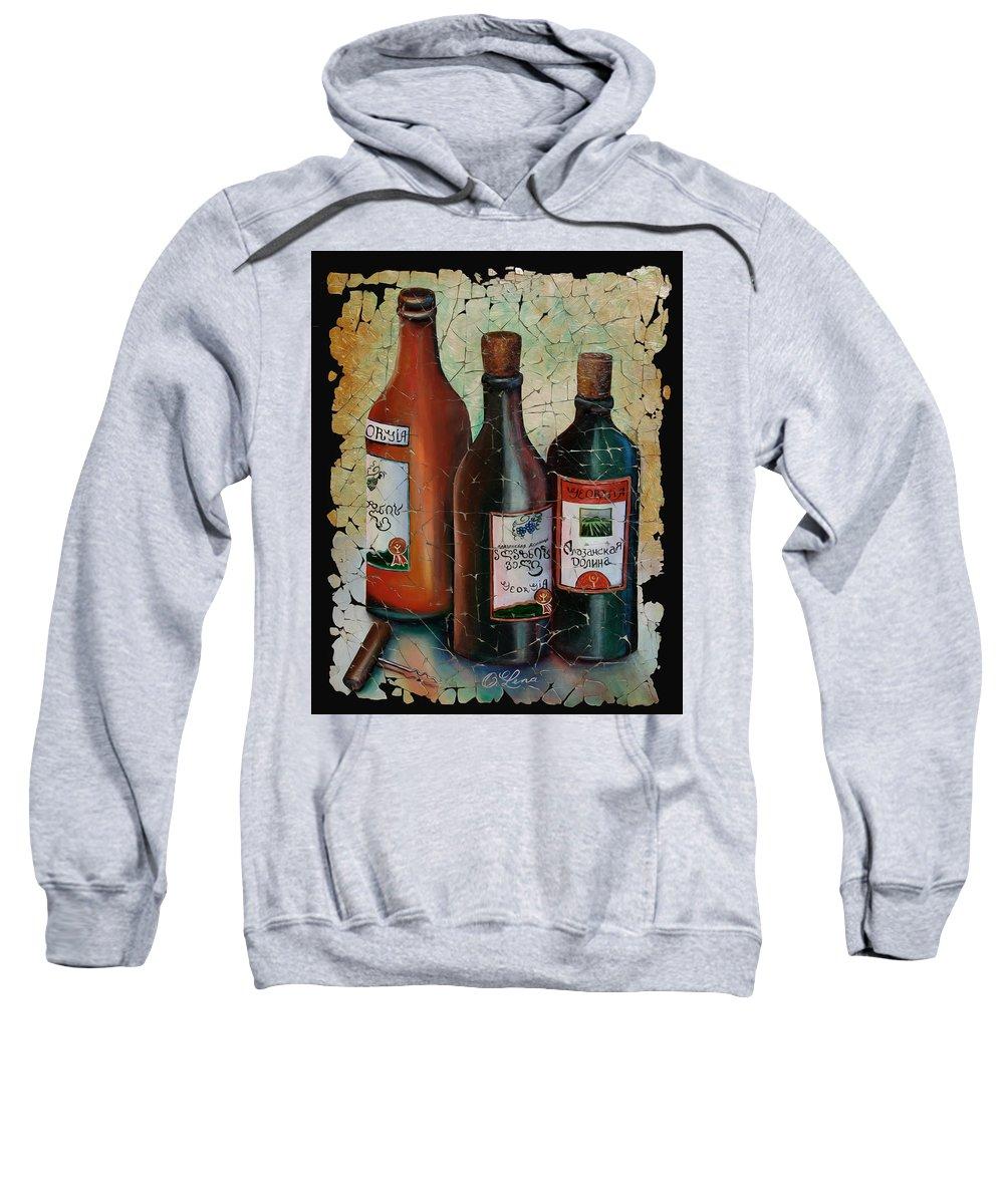 Georgian Wine Sweatshirt featuring the painting Georgian Wine Fresco by OLena Art Brand